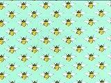 Popeline-Baumwollgewebe, Motiv: Bienen, Farbe: Grün