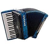Hohner Bravo III 72 SilentKey Akkordeon (schönes Akkorden mit 34 Piano-Tasten, 4 Standardbass Chöre, 72 Standardbässe, inkl. Trageriemen und Gigbag) Blau
