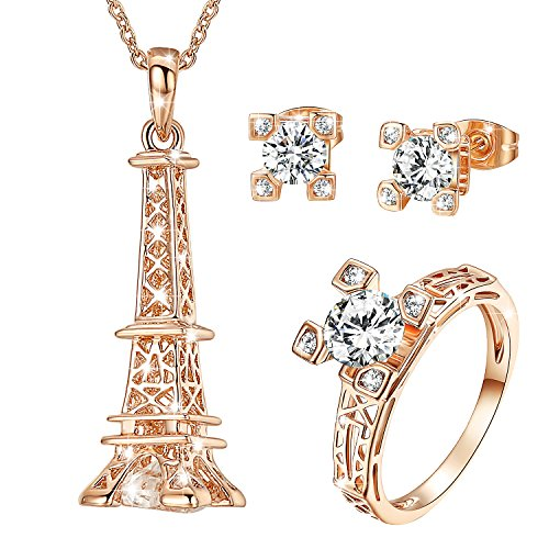 Yoursfs Unique Souvenir Paris Eiffel Tower Jewellery Sets Wedding Bride 18ct Rose Gold Plated Cubic Zirconia Earrings and Necklace and Ring Set for Women