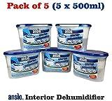 Ansio, Luftentfeuchter für Innenräume, 500ml, 5Stück 5 Pack tub