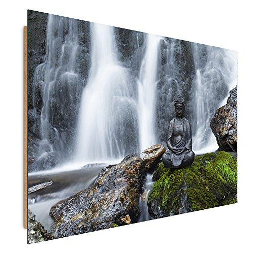 Feeby Frames, Tableau mural, Tableau Déco, Tableau imprimé, Tableau Deco Panel, 60x80 cm, ZEN, BOUDDHA, STATUE, CHUTE D'EAU, GALETS, BRUN, VERT