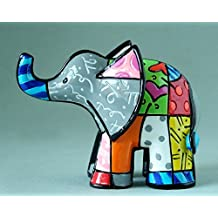 Romero Britto Mini Figur - Elefant - Pop Art aus Miami - grau #334446