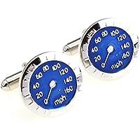 Gemelli di contatore di velocità–Speedometer, placcato cromato e smalto blu - Blu Placcato Gemelli