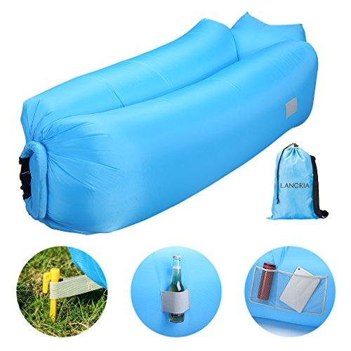 LANGRIA Wasserdichtes Aufblasbares Luftsofa, Transportabler Air Lounger mit Tragebeutel, zum Schlafen im Freien, im Innenbereich, zum Zurücklehnen und Entspannen, Aufblasbarer Sitzsack für den Garten, den Strand, das Campen, etc.