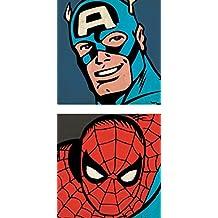Strictly Gifts Captain America y Spiderman PRIMER PLANO - Par De Lona Pósters - 40 cm x 40cm cada uno