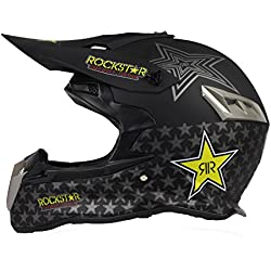 Woljay Casques motocross Casque sport moto sport double sport Saleté Bicyclette VTT Rockstar Noir (XXL)