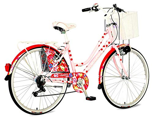 breluxx® 26 Zoll Damenfahrrad Venera Fashion Polka Dot Citybike Korb + Licht Retro Damenrad, 6 Gang Shimano (Korb Dot Polka)