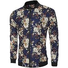 Manadlian [New Arrival Design] Frühling Herbst Winter Herren Männer Schlank Warm Sweatshirt Blumen gedruckt Mantel ReißverschlussJacke Rundhals Outwear