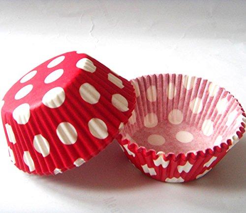 Lucky-Star Rot Polka Dot Muffin Cupcake Liners Papier Fall Geburtstag Backförmchen 500Pcs, Standard Größe 7,6cm