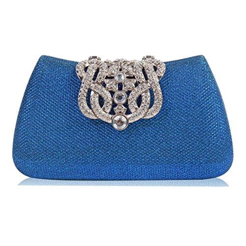 Damara Damen Schimmert Klein Handtasche,Schwarz Blau