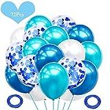 JWTOYZ 72 Stück Luftballons Grün / Blau / Rosa Weiß Konfetti Ballons mit für Geburtstag,...