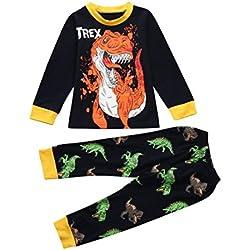 DRESS_start Niñas Pijama Para Los Niños,con estampado de niños de dibujos animados de dinosaurio,De AlgodóN 100% 2-8 AñO,º (4T, Azul marino)