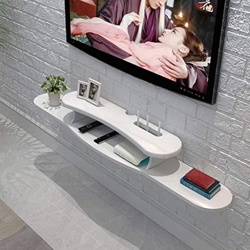 Regale, Regale und Schubladen Wandmontierter Tv-Schrank Schwimmendes Regal Wandregal Tv-Ständer Tv-Konsolen-Router Set Top Box Schlafzimmer Wohnzimmer Ablageboden Weiß 1.2M Innenhaushalt Langlebig , -