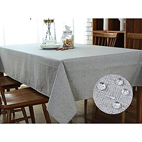 Premium Natural Breathable Linen Fabric Grey Wipe Clean Tablecloth, Country Style Rectangle Waterproof Table Cloth, Plain Table Linen for Dining Room, Kitchen, Hotel, Cafe, Restaurant