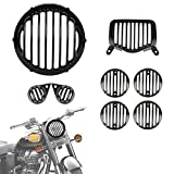 #7: Autofy Metal Matte Black Grill for Royal Enfield Bullet Standard 350 & Royal Enfield Standard 500 (Set of 8) - 1 Headlight Grill 1 Tail Light Grill 2 Parking Light Grills 4 Indicator Grills- All Models