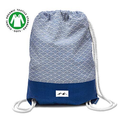 Santa Perago - Turnbeutel Fuji Blau aus 100% Bio Baumwolle | als Sportbeutel für Damen & Herren mit Reißverschluss | in 8 hochwertigen Designs (Schwitzt Kordelzug)