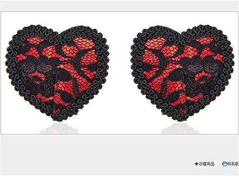 WKWNZ Autocollants de mamelon / accessoires de sous-vêtements sexy / soutien-gorge invisible / dentelle en forme de coeur paillettes / autocollants mamelons amusants / jouets adultes sexuels ( Color : D )