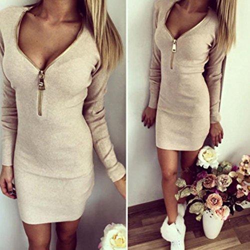 Vestito, Vovotrade® Donne sexy vestito con scollo a V Zip Inverno aderente partito Beige
