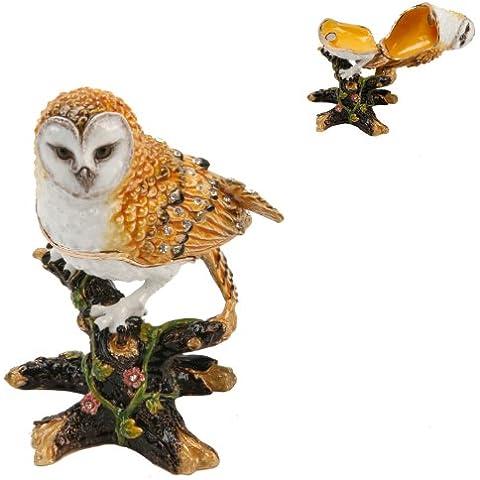 Treasured Trinkets-Gufo su un ramo-Portagioie in metallo pressofuso