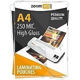 zoomyo pochettes de plastification A4 | 250 micromètres (2 x 125 µm) | Haute brillance | Pack de 100
