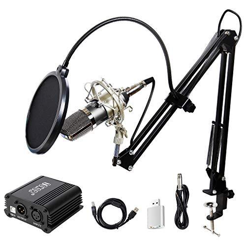 TONOR XLR zu 3.5 mm Kondensator-Mikrofon Kit mit USB Kabel Schall Podcast Studio Rundfunk & Aufnahme Microphone für Computer mit 48V Phantomspeisung Mikrofon Sets Schwarz