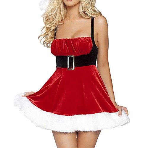 LAEMILIA Damen Weihnachten Kleid Weihnachtskostüm Santa Claus Kostüm Minikleid Weihnachtsmütze G-String (Santa Kostüme Claus Damen)