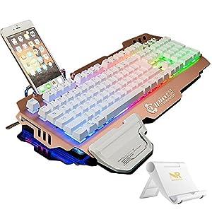 NORMIA RITA 104 klicken Mechanische Spiel Tastatur, Hintergrundbeleuchtungs RGB LED, Schalter MX RGB Grün, Mechanical-?hnliche Typing Experience,Selbst mit Handyhalter