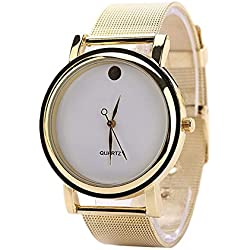Zeagoo® Womens Elegant Round Golden Alloy Belt Wrist Watch