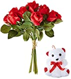 Fourwalls Artificial Red Rose Bunch and a Teddy Bear