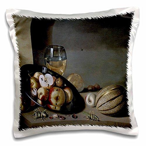 3dRose PC 149655_ 1Äpfel, Birnen, Pfirsiche und Walnüsse auf Einem Zinn Teller X Ambrosius willeboirts der Jüngere Kissen Fall, 40,6x 40,6cm -