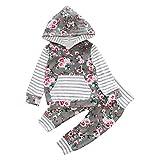 Culater® 2PCS bambini ragazza del neonato floreale con cappuccio Coat Top Pantaloni Casual Outfits vestiti Set (24M)