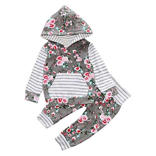 Culater® 2PCS bambini ragazza del neonato floreale con cappuccio Coat Top Pantaloni Casual Outfits vestiti Set (12M)