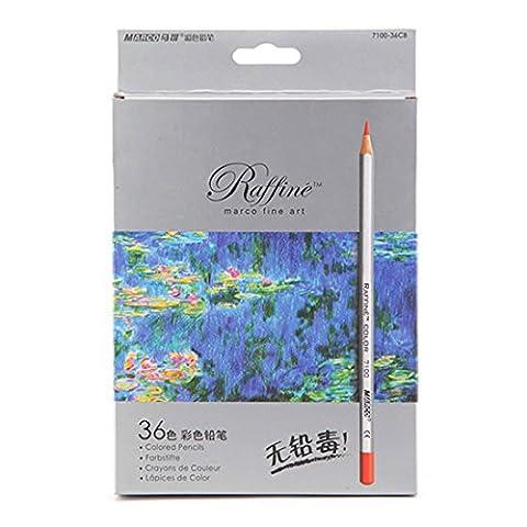 zhengdu Professioneller High Qualität Marco Buntstifte 36 Farben Kunst Colored Zeichnen Bleistifte für Künstler Skizze, (Eraser Di Matita)