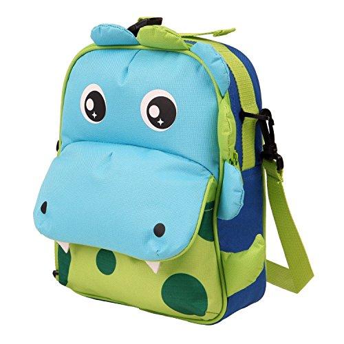 Babyhugs®-borsa per il pranzo, per bambini, con 3 vie-animal-zaino scuola materna, borsa termica per il pranzo verde 3-way - cute dragon