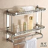 Hlluya Handtuchhalter Schrauben aus Edelstahl wc Toilettenspülung Badezimmer Handtuchhalter Racks, Classic 50 cm 3 Layer (Punch)