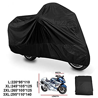 ANFTOP Waterproof Motorcycle Cover Large Motorbike Scooter Cover Black Color Outdoor Dust Rain UV Protective Cover L