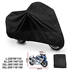 ANFTOP telo coprimoto xl del scooter motociclo motorino copertura esterno impermeabile pioggia UV polvere Prevenzione antipolvere teli per moto Misura XL (245*105*125CM) , Colore: Nero