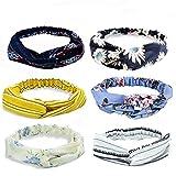 LANPIX Damen Stirnband Haarband - 6 Stück Damen Boho Twist Knoten kopfband Yoga Sportliche elastische Streifen Blume gedruckt Stirnbänder