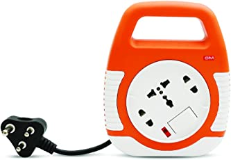 GM Modular 3045-Square 3 Pin Flex Box 4 Meter (with Handle, Indicator & International Socket),Orange and White