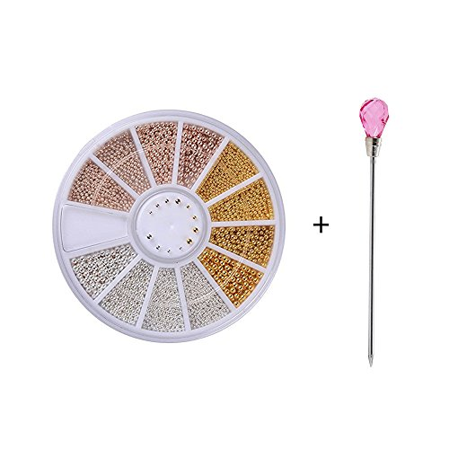 Carrousel Strass Rond Acier Balles Ongles Or Champagne 0,8mm/1,0mm/1,2mm/1,5mm Mixte 3D Nail Art Décorations Manucure