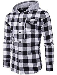 Yvelands Camisa a Cuadros de Manga Larga con Cuello en V Manga Larga Hombre Camisa con