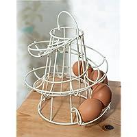 Cocina Almacenamiento espiral Helter Skelter–Soporte para huevos soporte accesorio de capacidad para 18huevos color crema
