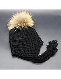HuntGold bébé chapeau tricoté casquettes chaud hiver boules de poils bonnet d'enfant noir