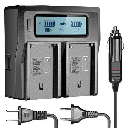 Neewer Caricabatterie Doppio con Display LCD & 3 Plug (Spina USA + Spina UE + Adattatore per Auto) per Batterie di Videocamere Sony