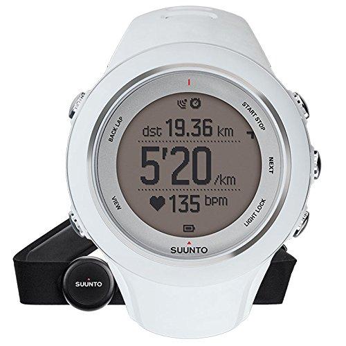 Suunto AMBIT3 SPORT HR - Reloj GPS unisex multisport, 15 h de duración de la batería, monitor frecuencia cardiaca + cinturón de frecuencia cardiaca (talla: M), sumergible hasta 50 m, color blanco