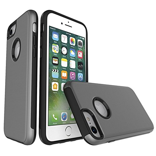 "MOONCASE iPhone 6S Coque, Housse Etui Dual Layer Brossé Finition Absorption des chocs en Plastique Combo Armure Defender Case pour iPhone 6 / 6s 4.7"" Gris Gris"