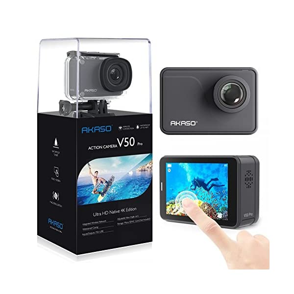 AKASO V50 Pro Native 4K/30fps 20MP WiFi Action Camera with EIS Touch Screen Adjustable View Angle 30m Waterproof Camera Support External Mic Remote Control Sports Camera with Helmet Accessories Kit 51w9avjJV6L