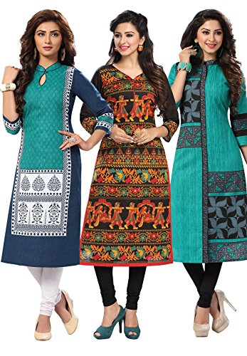 Salwar Studio Women\'s Pack of 3 Cotton Printed Unstitched Kurti Fabric Combo (Only Top Fabric)