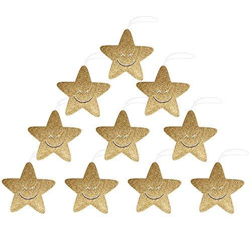 Twinkle Smiling Star Weihnachten hängende Dekoration 10PCS für Party Home Garden Tree (Santa Kostüme Anzug Erwachsene Für Klassische)