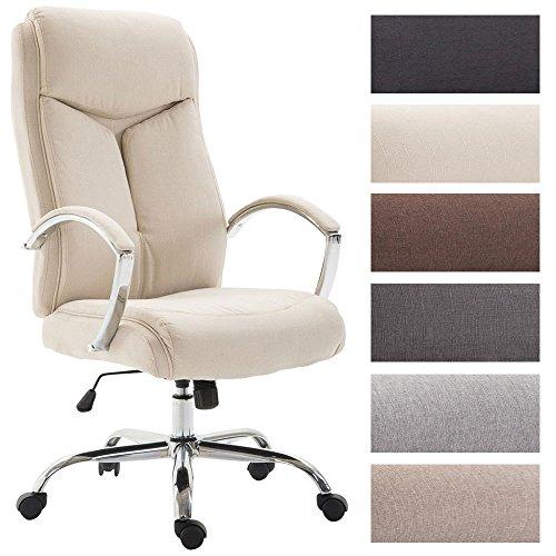 CLP Bürostuhl XL Vaud mit Stoffbezug, Chefsessel, Drehstuhl mit Armlehnen, Bürodrehstuhl mit hochwertige Polsterung, max. Belastbarkeit 140 kg, Creme
